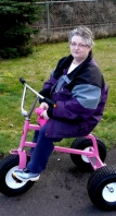 tricycle giant pink woman